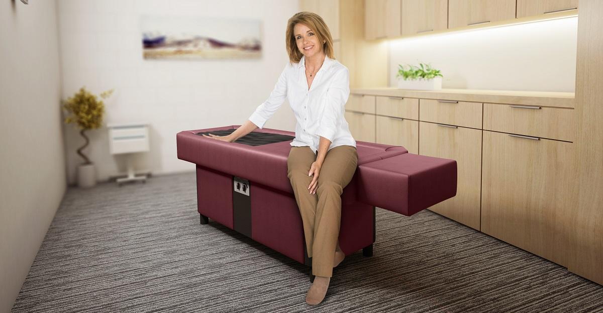 woman sitting on burgundy pro s10